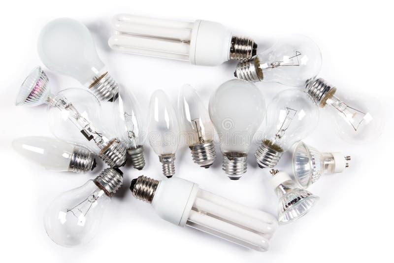 Olika lightbulbs arkivfoton