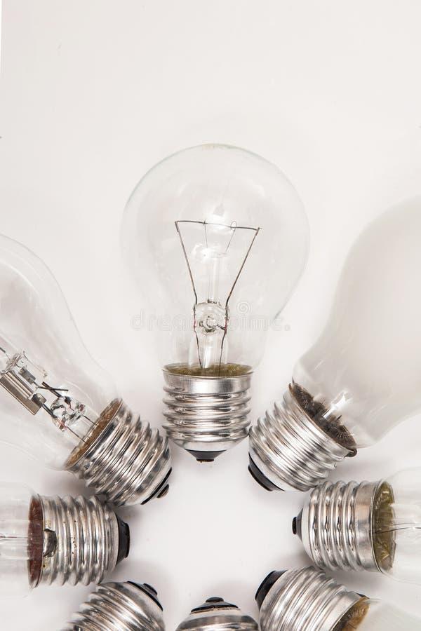 Olika lightbulbs royaltyfria foton