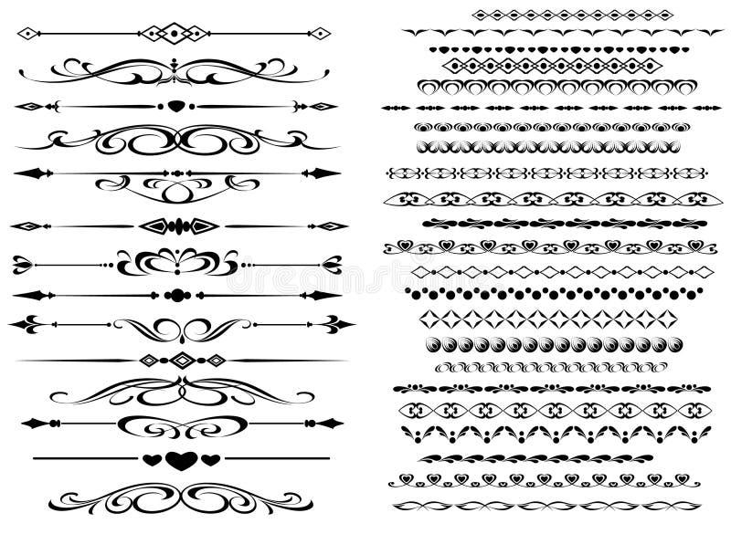 olika linjer dekorativ regel för design royaltyfri illustrationer
