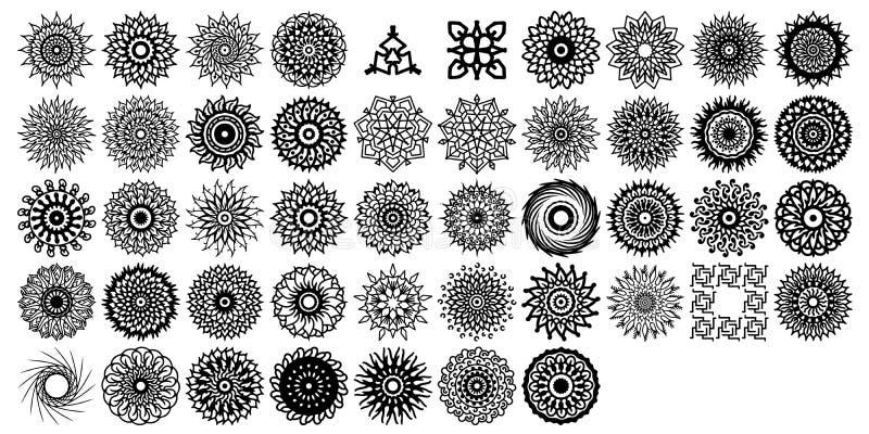 Olika mandalasamlingsuppsättningar Boho stil Vektormappar kan appliceras för att skriva ut och digitalt massmedia royaltyfri illustrationer