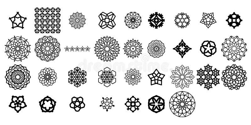 Olika mandalasamlingsupps?ttningar Boho stil Vektormappar kan appliceras f?r att skriva ut och digitalt massmedia royaltyfri illustrationer