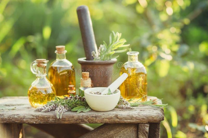 Olika massage- och skönhetsmedeloljor i glasflaskor royaltyfri bild