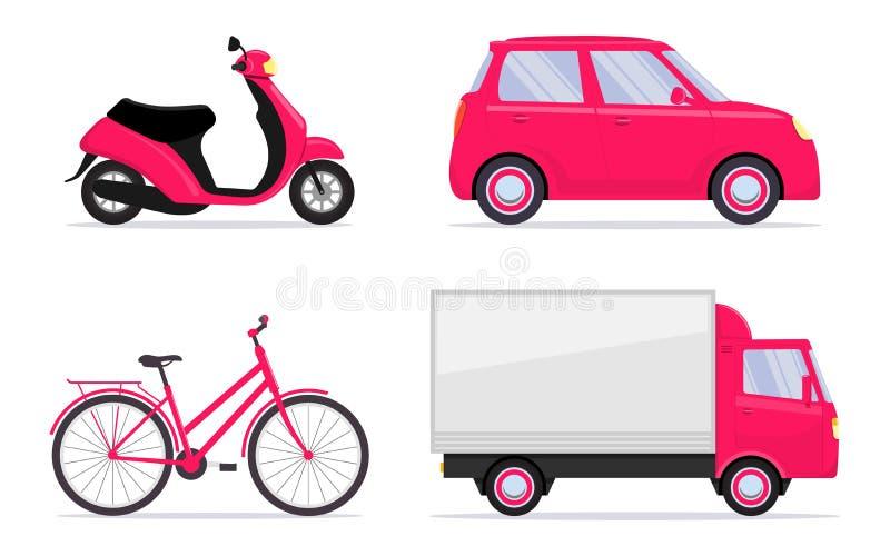Olika medel, uppsättning Bil cykel, cykel, sparkcykel som vara nedstämd, lastbil Uppsättning för dig design Vektorillustration i  vektor illustrationer