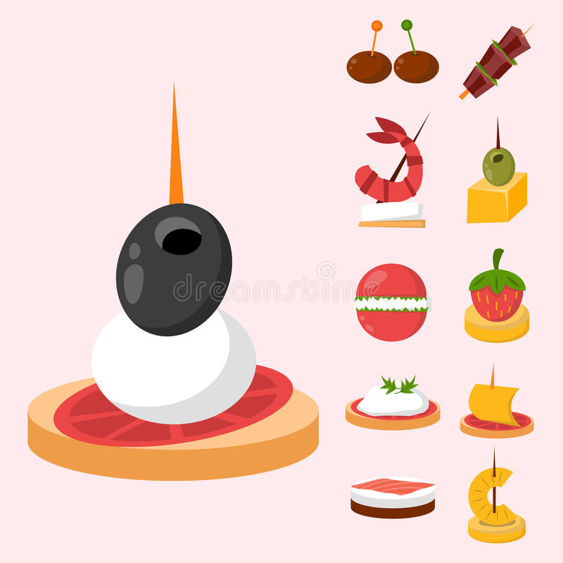 Olika mellanmål för bankett för köttfiskost på vektor för aptitretare för mellanmål för bankettuppläggningsfatcanape läcker vektor illustrationer