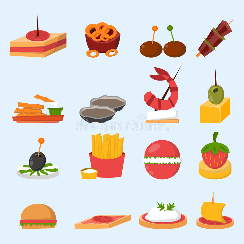 Olika mellanmål för bankett för köttfiskost på vektor för aptitretare för mellanmål för bankettuppläggningsfatcanape läcker royaltyfri illustrationer