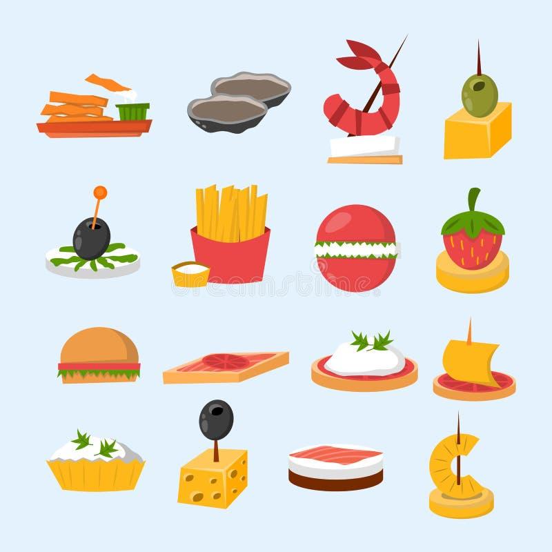 Olika mellanmål för bankett för köttfiskost på vektor för aptitretare för mellanmål för bankettuppläggningsfatcanape läcker stock illustrationer