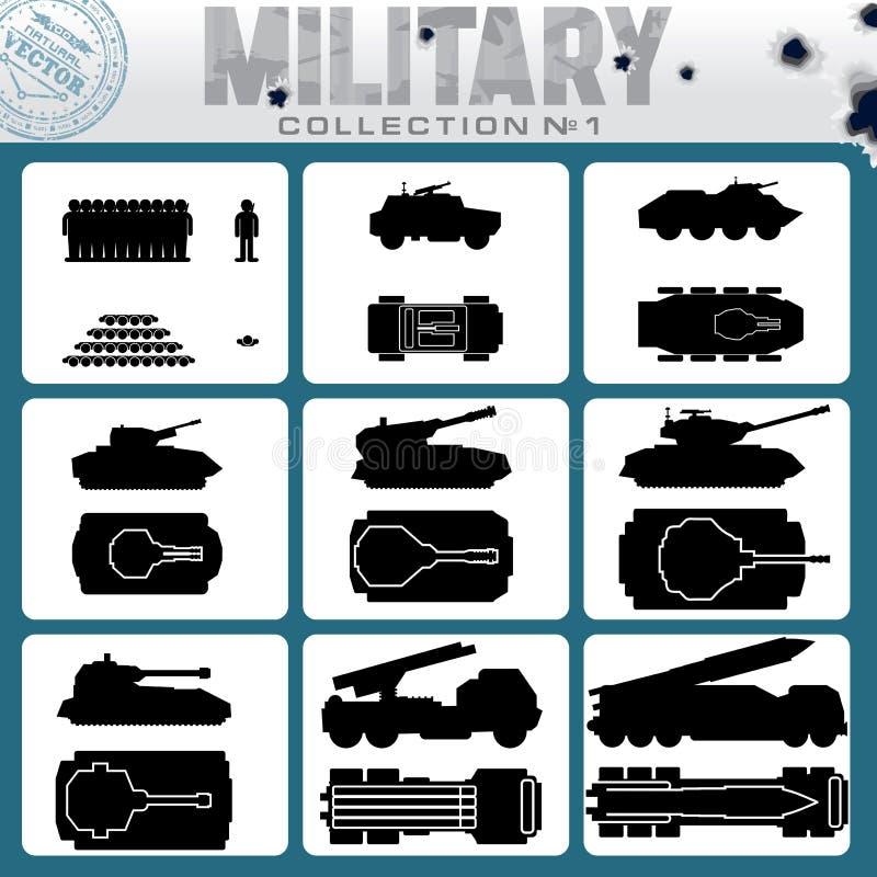 Olika militärfordon byter ut lätta symboler för bakgrund den genomskinliga vektorn för skugga vektor illustrationer