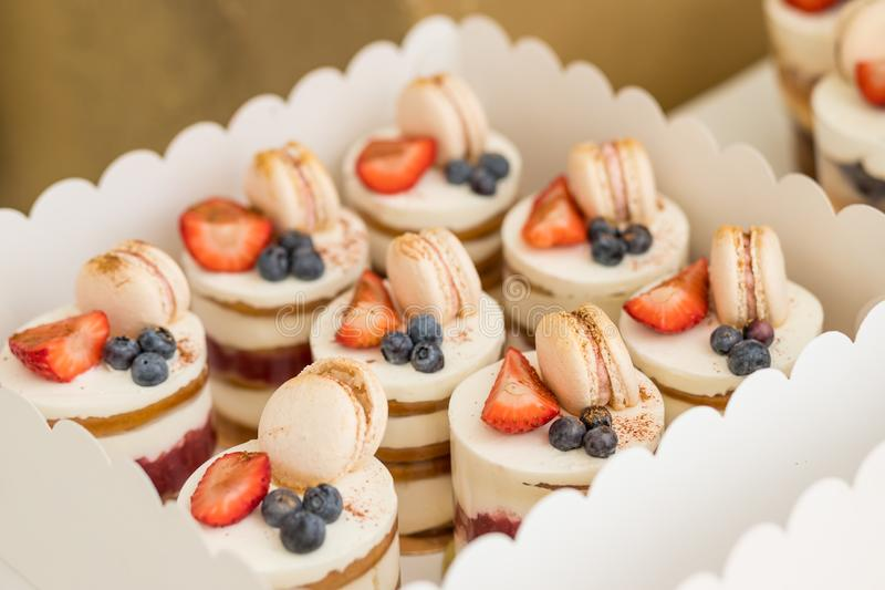Olika mini- kakor Sötsaker dekorerade med nya bär för ferie smaklig cake små kakor med olika bär och royaltyfri bild