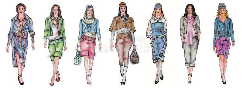 olika modemodeller sju royaltyfri illustrationer
