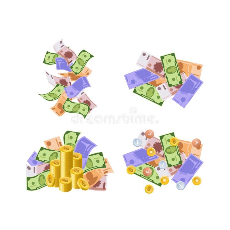 Olika monetära valutor, i form av kassa, skyler över brister räkningar, mynt vektor illustrationer