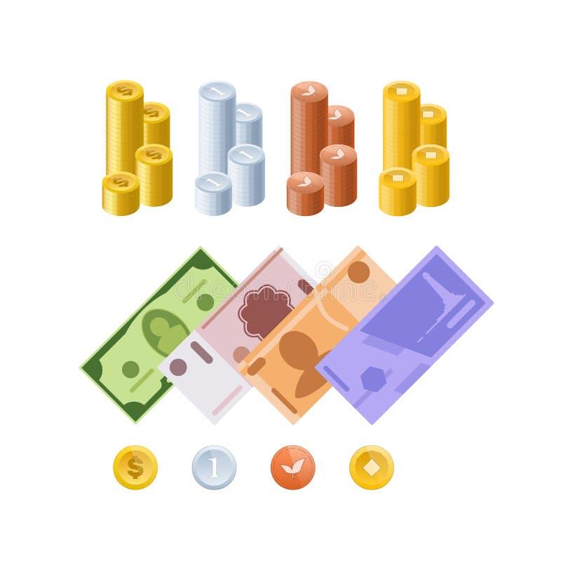 Olika monetära valutor, i form av kassa, skyler över brister räkningar, mynt stock illustrationer