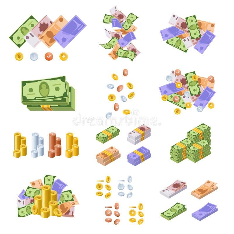 Olika monetära valutor, i form av kassa, skyler över brister räkningar, mynt royaltyfri illustrationer