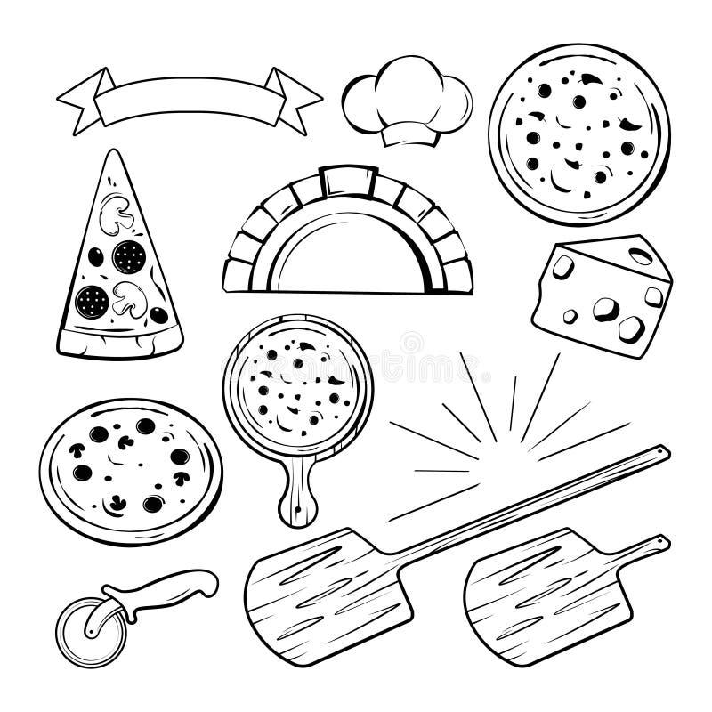 Olika monokromma beståndsdelar för pizzabaner, etiketter eller logoer planlägger också vektor för coreldrawillustration royaltyfri illustrationer