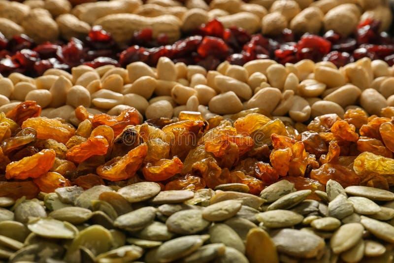 Olika muttrar med torkat frukter och pumpafrö, closeup arkivbild