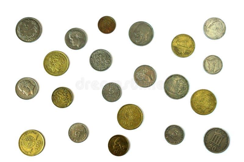Olika mynt av den gamla grekiska drakman Sortiment av mynt av på arkivfoton