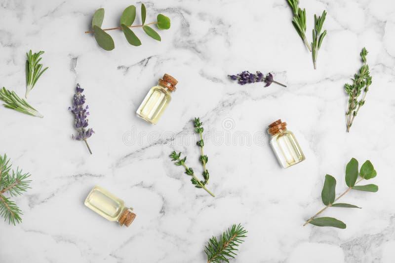 Olika nödvändiga oljor i glasflaskor och ingredienser marmorerar på bakgrund arkivbild