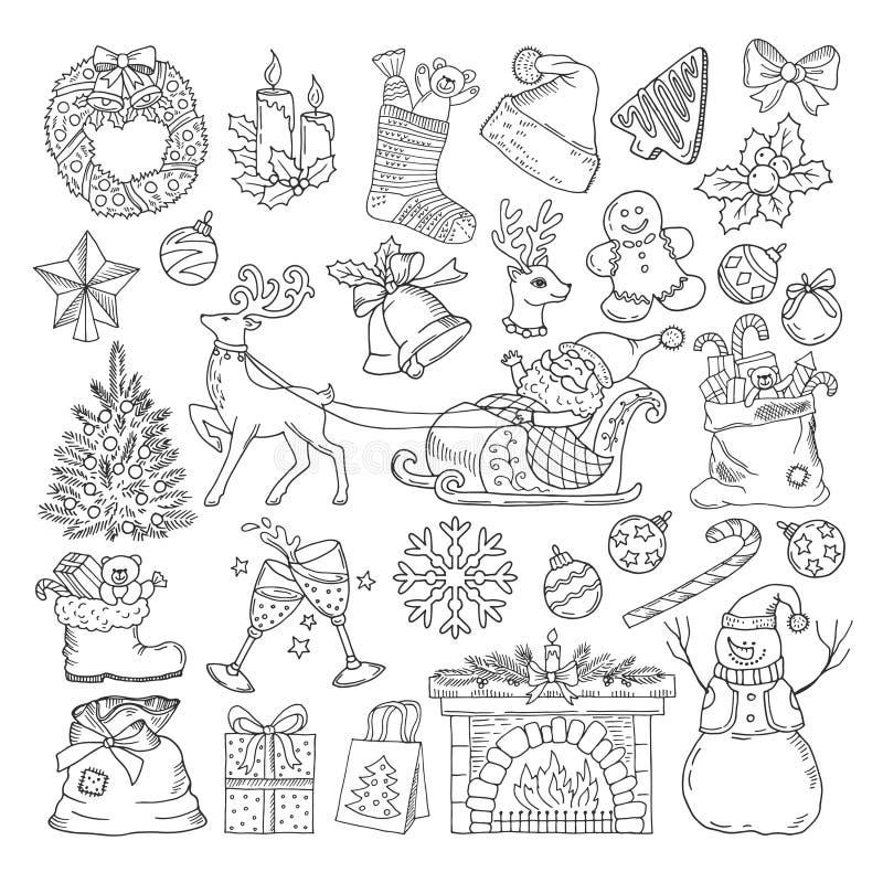 Olika objekt för vinterferier Samling för symboler för julparti Tappningillustrationuppsättning i hand dragen stil stock illustrationer