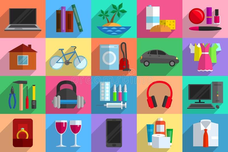 Olika objekt som potentiella köp stock illustrationer