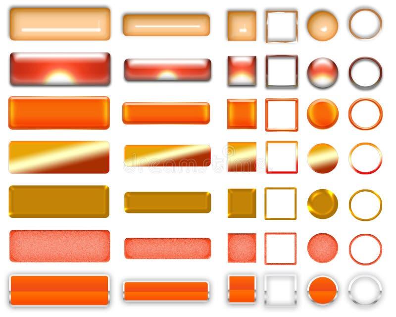 Olika orange färger av knappar och symboler för rengöringsdukdesign royaltyfri fotografi