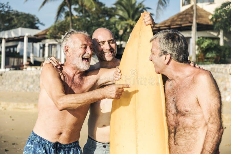 Olika pensionärvänner på stranden royaltyfria bilder