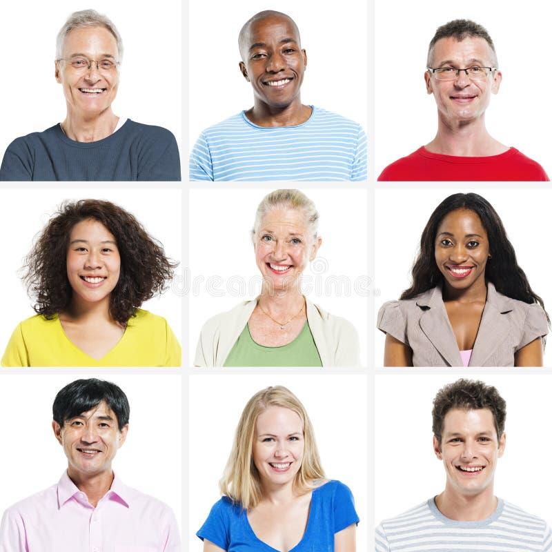 9 olika personer på vit bakgrund royaltyfria foton
