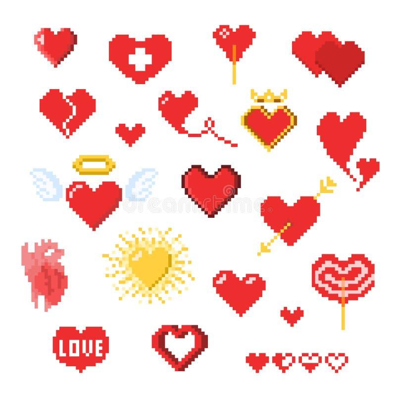 Olika PIXELhjärtasymboler som isoleras på vit, valentindagdekor i PIXELkonststil stock illustrationer