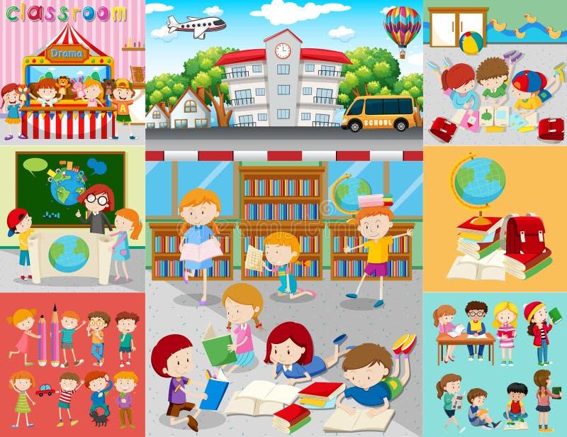 Olika platser med barn på skolan stock illustrationer