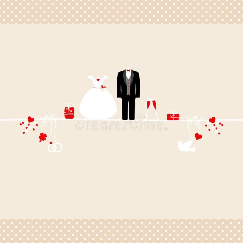 Olika röda bröllopsymboler för fyrkantigt kort och beigea Dots Borders royaltyfri illustrationer