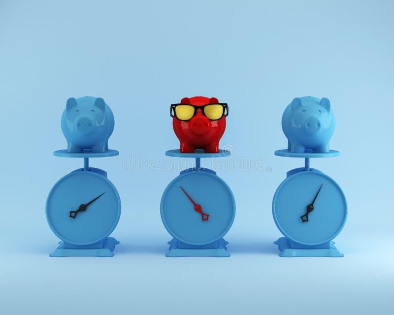 Olika röda piggy besparingar med det blåa svinet annat på blå backgrou arkivfoton