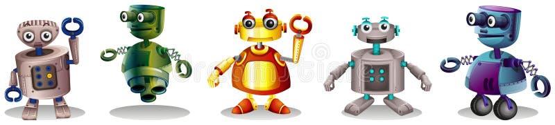 Olika robotdesigner vektor illustrationer
