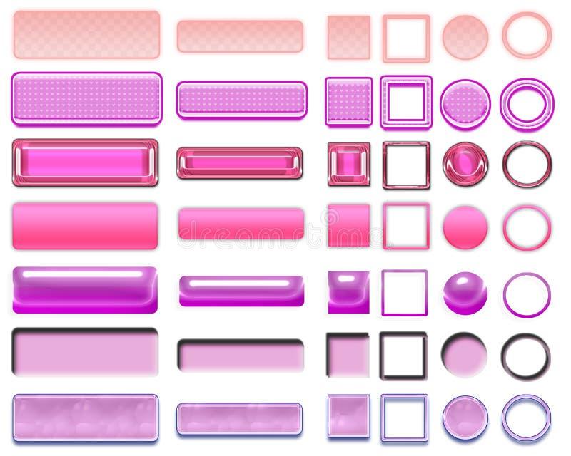 Olika rosa färger av knappar och symboler för rengöringsdukdesign arkivfoto