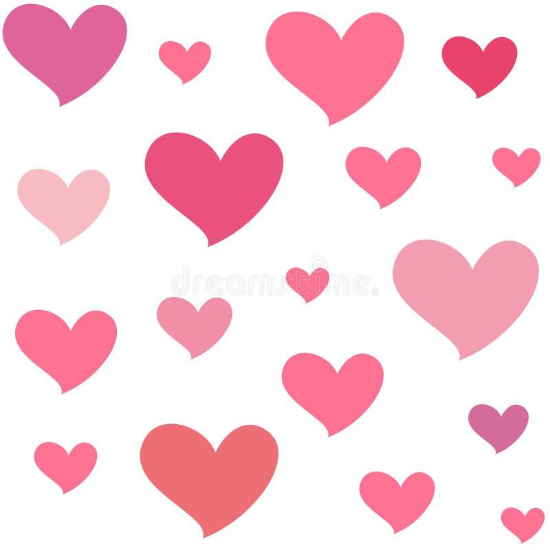 Olika rosa hjärtor Isolerad sömlös modell på vit bakgrund Symbol av förälskelse och romans royaltyfri illustrationer
