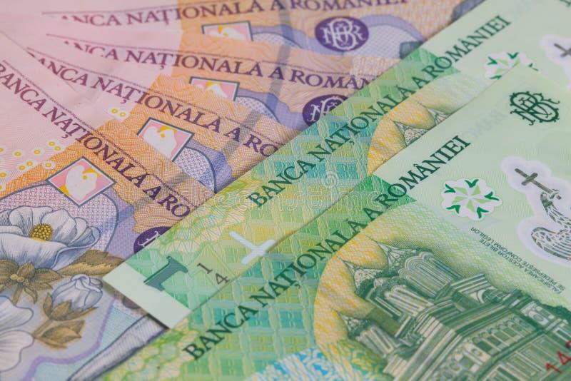 Olika rumänska Lei Banknotes fotografering för bildbyråer