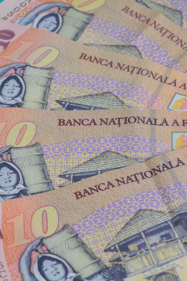 Olika rumänska Lei Banknotes royaltyfria bilder