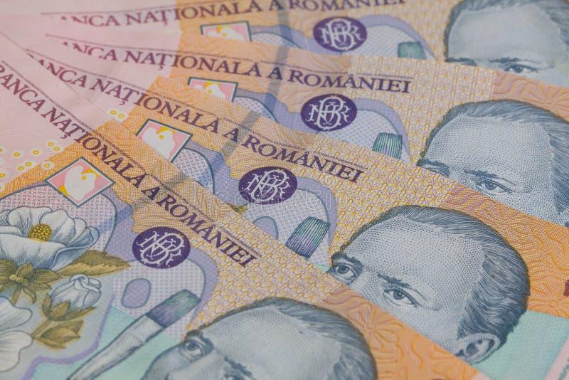 Olika rumänska Lei Banknotes royaltyfri foto