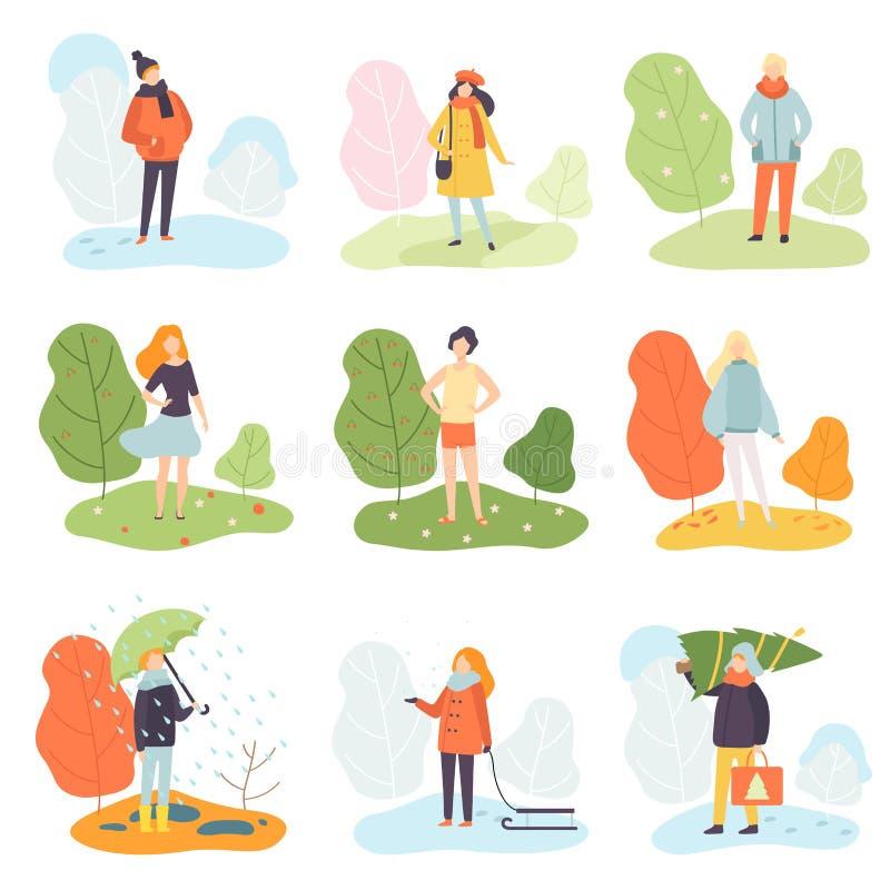 Olika säsonger uppsättning, vinter, vår, sommar och höst, folk i säsongsbetonad kläder i naturvektorillustration vektor illustrationer