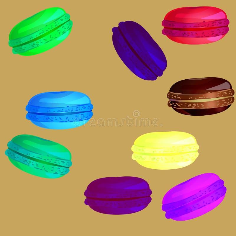 Olika sötsaker på ett ljust - brun bakgrund stock illustrationer