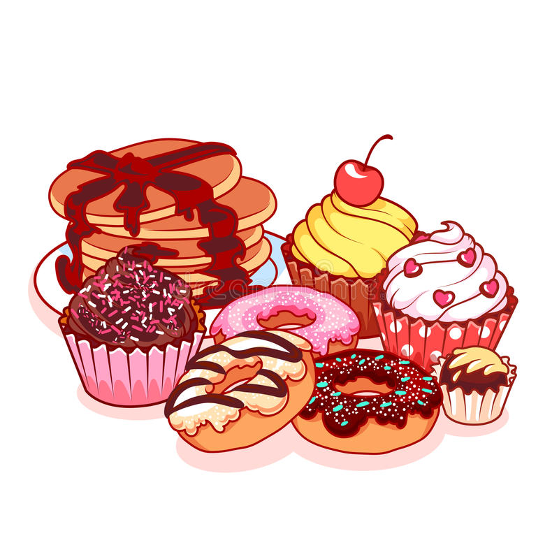 Olika sötsaker: pannkakor, donuts, chokladgodisar och muffin royaltyfri illustrationer