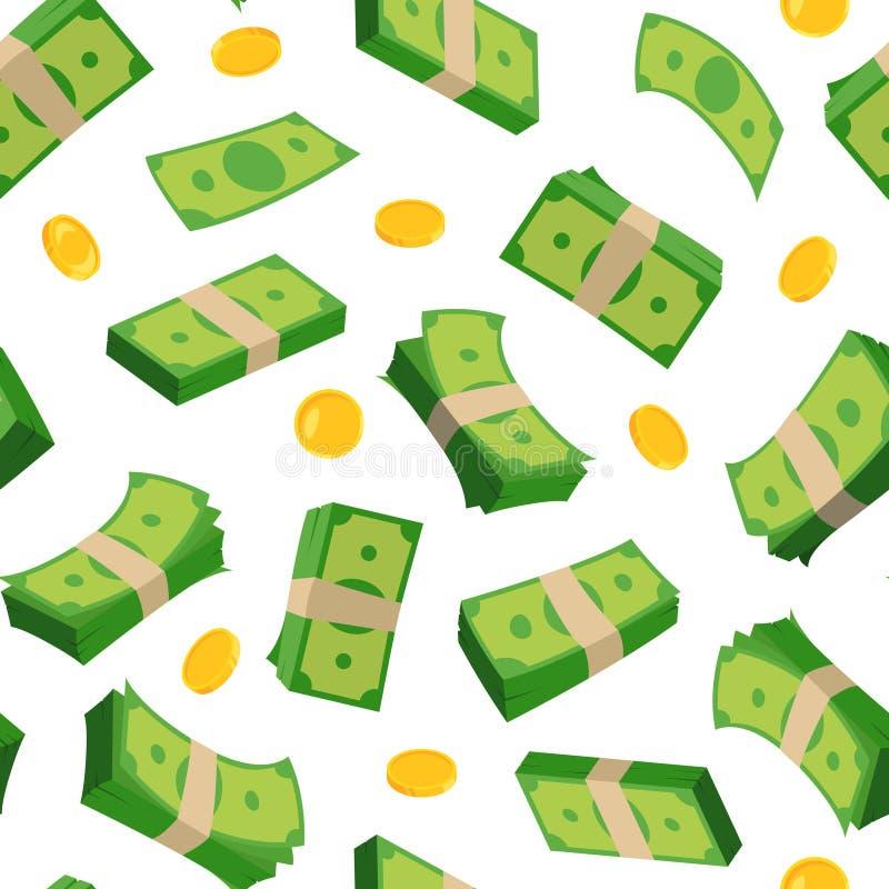 Olika sedlar av dollar och mynt seamless vektor för modell vektor illustrationer