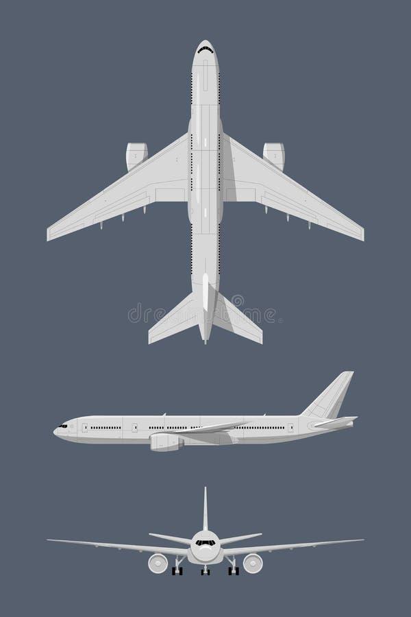 Olika sidor av det moderna flygplanet Vektorillustrationisolat royaltyfri illustrationer