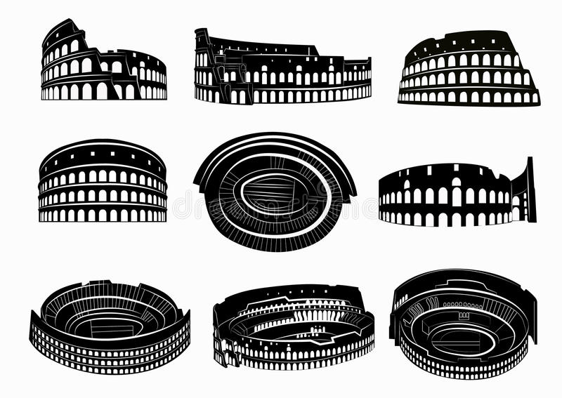 Olika sikter av roman Colosseum stock illustrationer