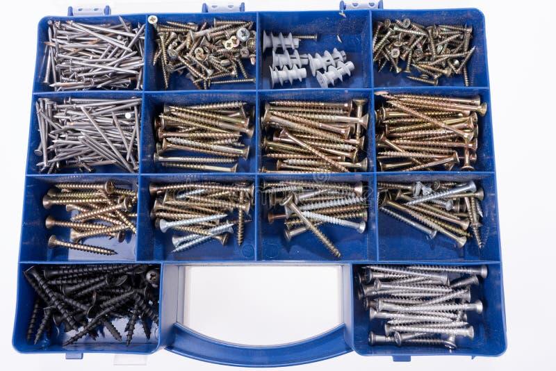 Olika skruvar och andra delar som sorteras i en ask arkivbild