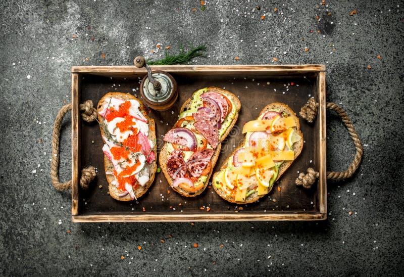 Olika smörgåsar med skaldjur, kött och grönsaker på ett gammalt magasin royaltyfria bilder
