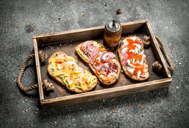 Olika smörgåsar med skaldjur, kött och grönsaker på ett gammalt magasin royaltyfri fotografi