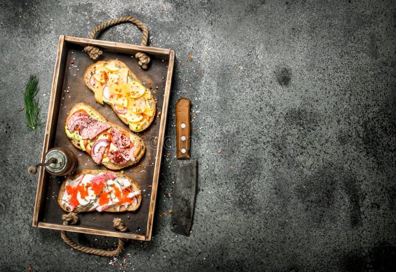 Olika smörgåsar med skaldjur, kött och grönsaker på ett gammalt magasin arkivfoton