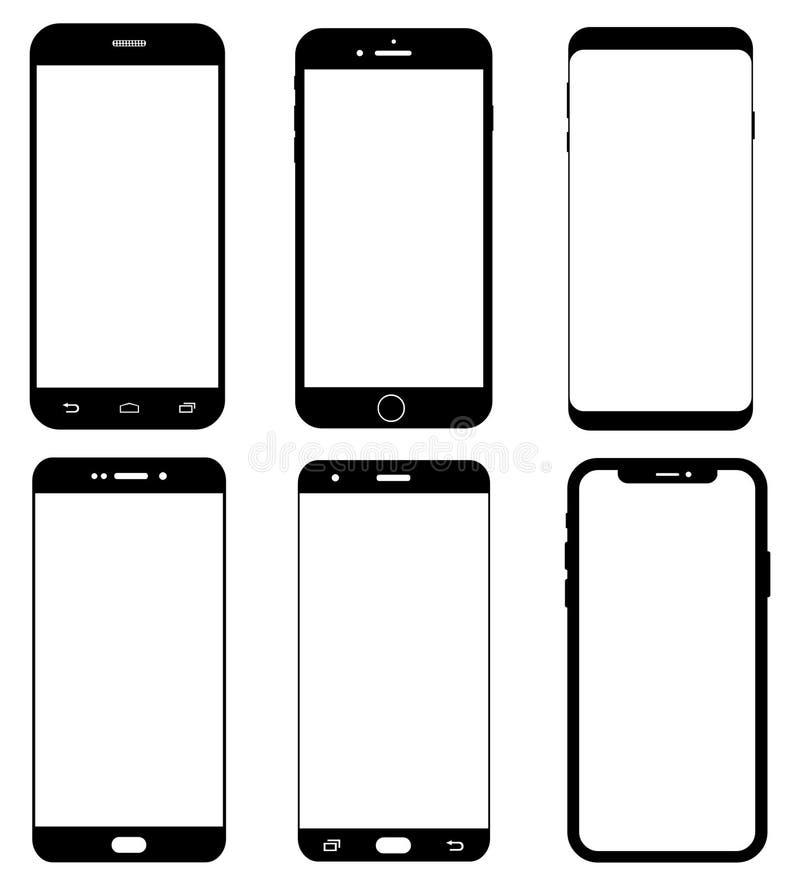 Olika smartphoneskärmar stock illustrationer