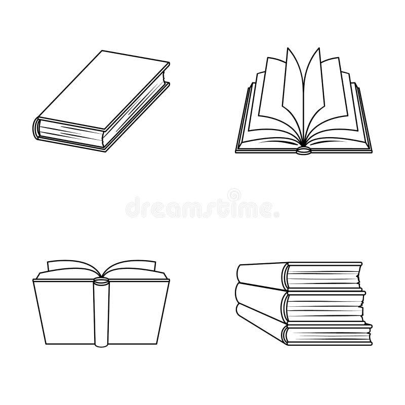 Olika sorter av böcker Böcker ställde in samlingssymboler i rengöringsduk för illustration för materiel för symbol för översiktss stock illustrationer