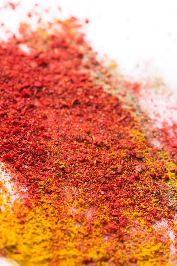 Olika sorter av orientaliska kryddor grundar röd Paprika Hot Chili Pepper Turmeric curry spilld vit bakgrund idérikt begrepp royaltyfria foton