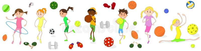 Olika sorter av sportar är förlovade i barn Sportskal royaltyfri illustrationer