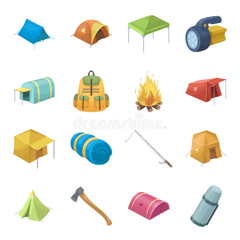 Olika sorter av tält och annan turist- tillbehör Symbolerna för tältuppsättningsamling i materiel för symbol för tecknad filmstil stock illustrationer